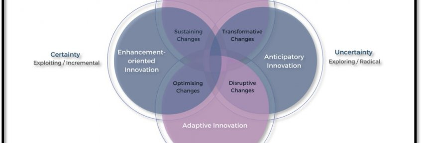 "Four overlapping circles with four identified intersections. The top circle is labelled ""mission-oriented innovation"", the right circle ""anticipatory innovation"", the bottom ""adaptive innovation"", and the left ""enhancement-oriented innovation"". The four intersections are labelled ""transformative changes"" between mission-oriented and anticipatory, ""disruptive changes"" between anticipatory and adaptive, ""optimising changes"" between adaptive and enhancement-oriented, and ""sustaining changes"" between enhancement-oriented and mission-oriented."