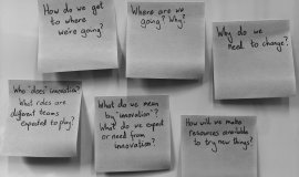 A series of questions written on sticky-notes on a board