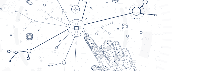 Fingers exploring a map of interconnected nodes and elements.